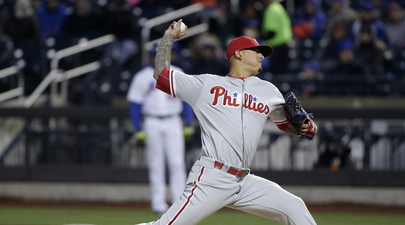 Philadelphia Phillies pitcher Vince Velasquez delivers against the New York Mets during the first inning of a baseball game, Saturday, April 9, 2016, in New York. (AP Photo/Julie Jacobson)