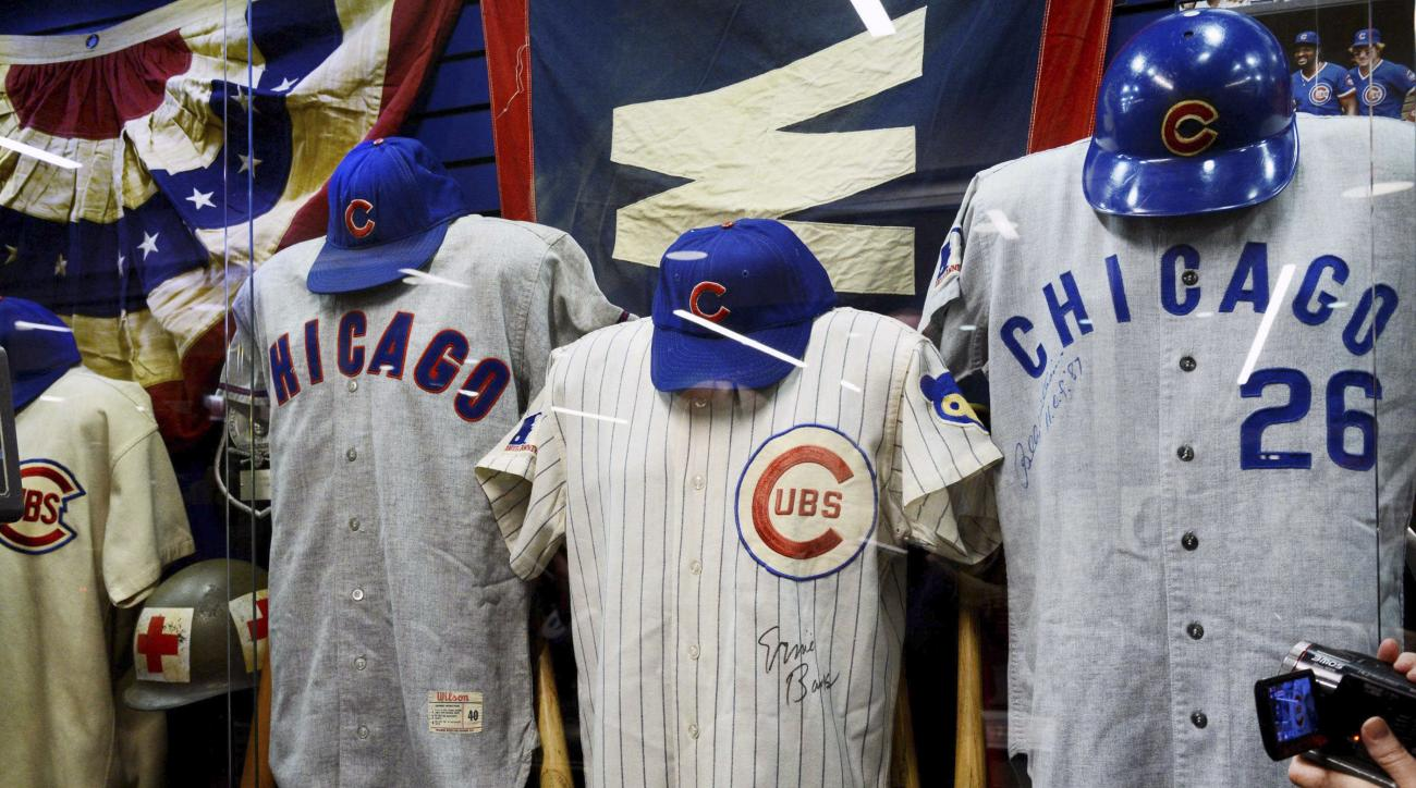 The Chicago Cubs unveiled their newly refurbished clubhouse for members of the media at Wrigley Field in Chicago,  on Tuesday, April 12, 2016. A glass cased display of historic Cubs memorabilia ties in the history of the franchise with the new clubhouse f