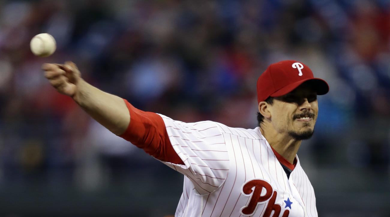 Philadelphia Phillies' Charlie Morton pitches during the third inning of a baseball game against the San Diego Padres, Tuesday, April 12, 2016, in Philadelphia. (AP Photo/Matt Slocum)
