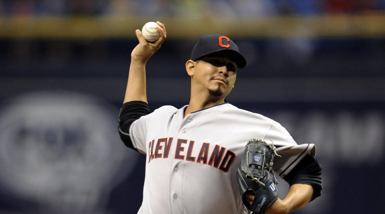 Cleveland Indians starter Carlos Carrasco pitches against the Tampa Bay Rays during the first inning of a baseball game Wednesday, April 13, 2016, in St. Petersburg, Fla. (AP Photo/Steve Nesius)