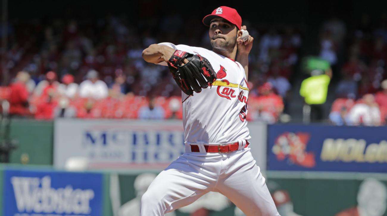 St. Louis Cardinals starting pitcher Jaime Garcia (54) pitches in the first inning of a baseball game against the Milwaukee Brewers, Thursday, April 14, 2016 in St. Louis. (AP Photo/Tom Gannam)