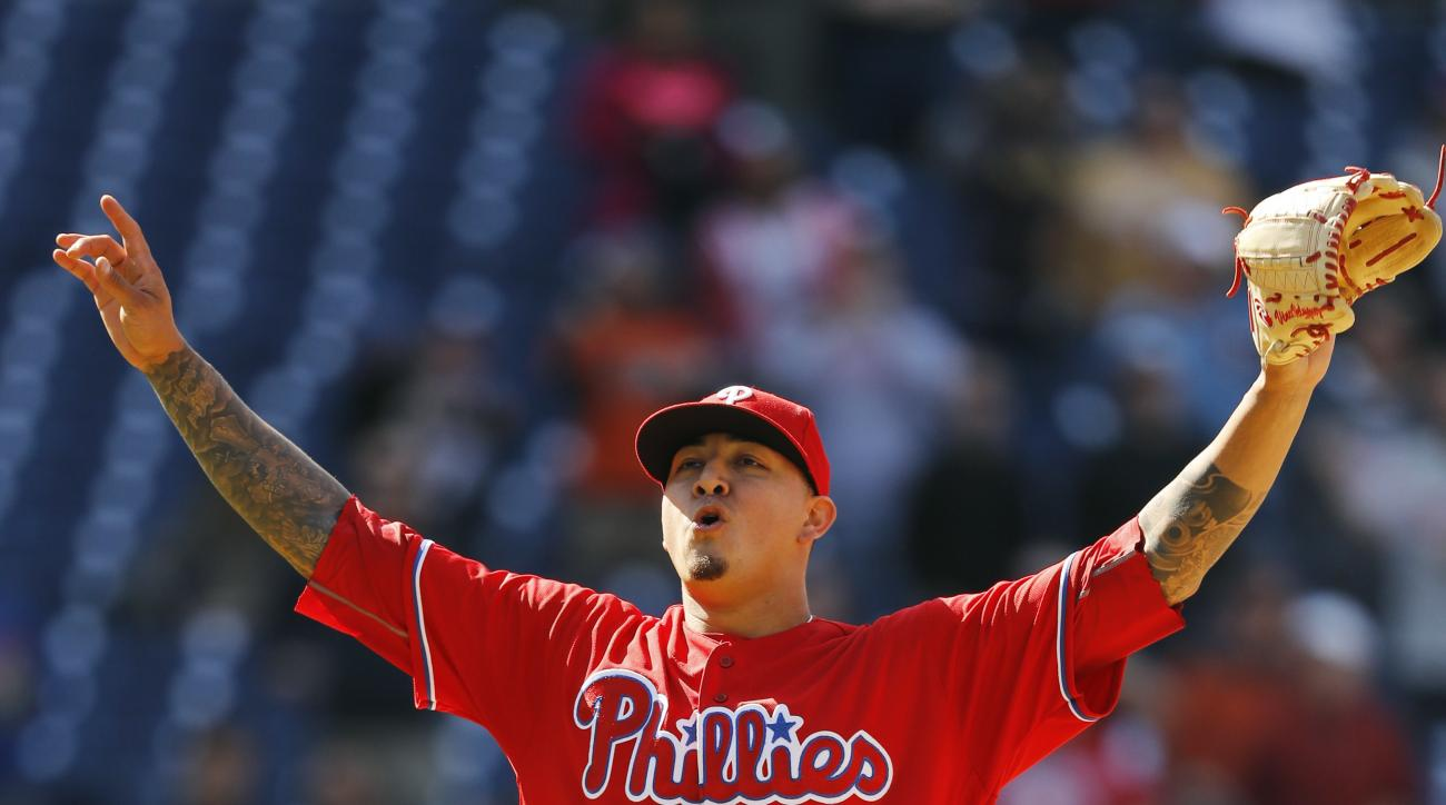 Philadelphia Phillies starting pitcher Vince Velasquez reacts after striking out San Diego Padres' Wil Myers to win a baseball game against the San Diego Padres, 3-0, Thursday, April 14, 2016, in Philadelphia. (AP Photo/Matt Slocum)