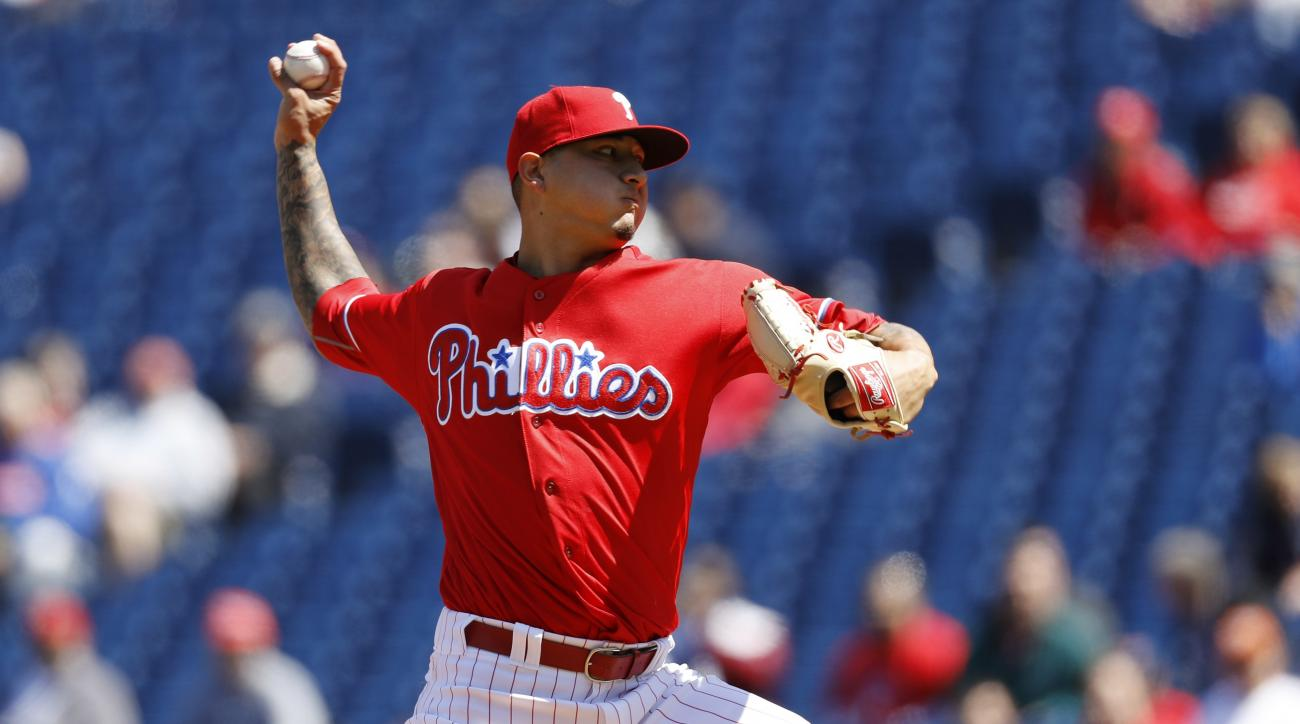 FILE - This April 14, 2016 file photo shows Philadelphia Phillies' Vince Velasquez pitching during the first inning of a baseball game against the San Diego Padres in Philadelphia. The 23-year-old right-hander dominated the San Diego Padres, striking out