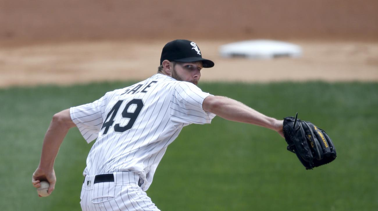Chicago White Sox starting pitcher Chris Sale delivers during the first inning of a baseball game Wednesday, April 20, 2016, in Chicago. (AP Photo/Charles Rex Arbogast)