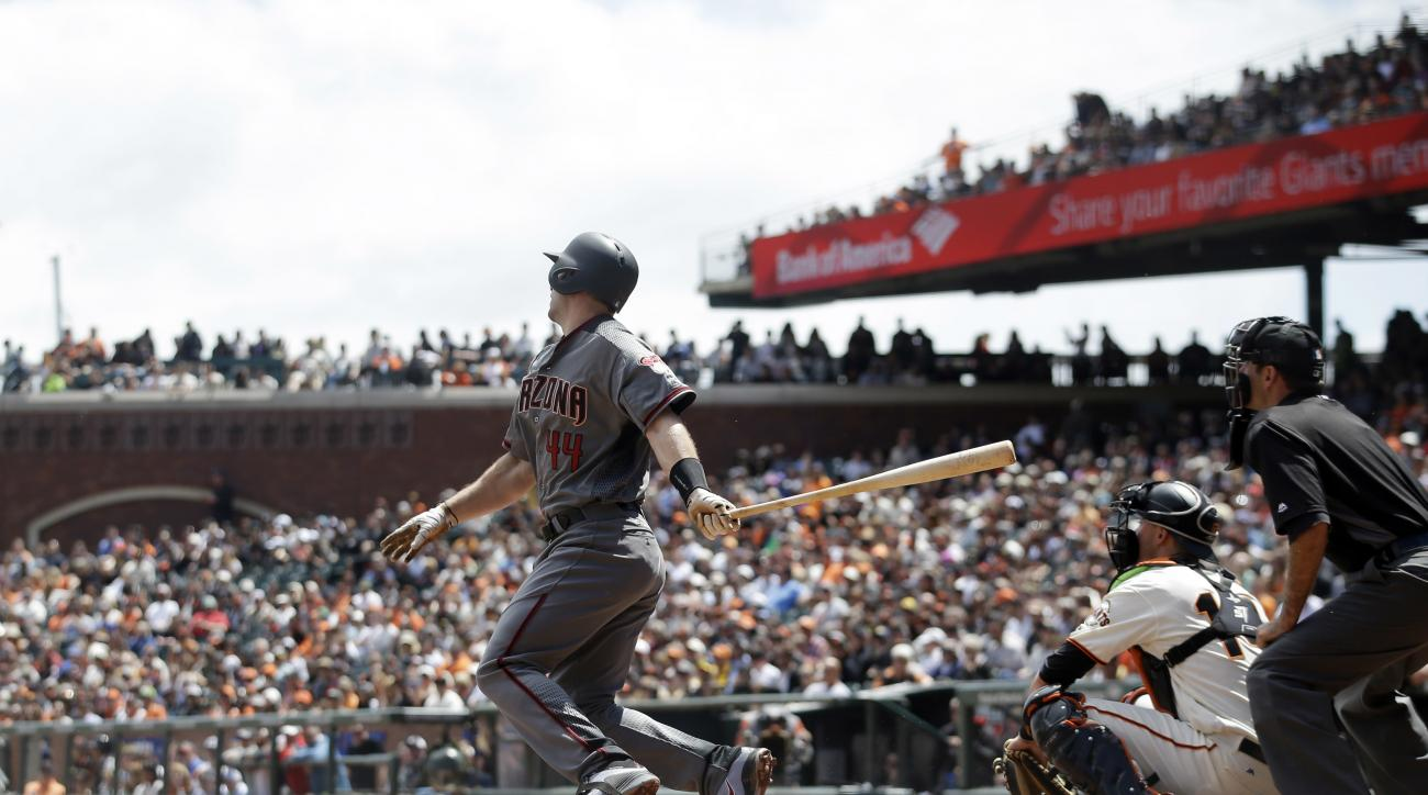 Arizona Diamondbacks' Paul Goldschmidt follows through on an RBI single during the third inning of a baseball game against the San Francisco Giants, Thursday, April 21, 2016, in San Francisco. (AP Photo/Marcio Jose Sanchez)