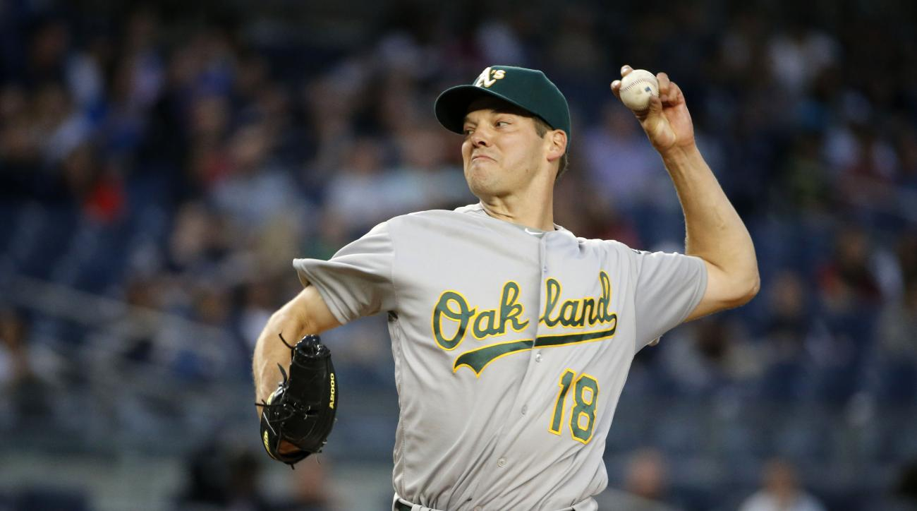 Oakland Athletics starting pitcher Rich Hill delivers in the second inning of a baseball game against the New York Yankees in New York, Thursday, April 21, 2016. (AP Photo/Kathy Willens)