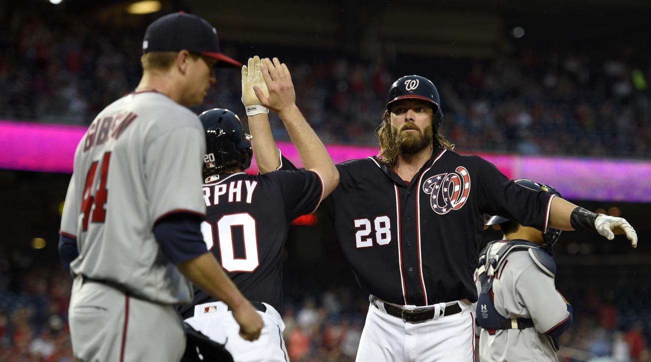 Washington Nationals' Jayson Werth (28) high-fives teammate Daniel Murphy (20) as they both scored on a single by Jose Lobaton during the first inning of an interleague baseball game against the Minnesota Twins, Friday, April 22, 2016, in Washington. Twin