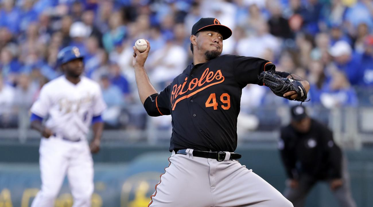 Baltimore Orioles starting pitcher Yovani Gallardo throws during the first inning of a baseball game against the Kansas City Royals on Friday, April 22, 2016, in Kansas City, Mo. (AP Photo/Charlie Riedel)