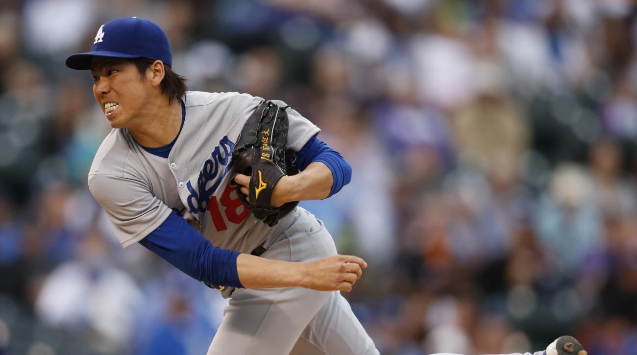 Los Angeles Dodgers starting pitcher Kenta Maeda delivers against he Colorado Rockies in the first inning of a baseball game Saturday, April 23, 2016, in Denver. (AP Photo/David Zalubowski)