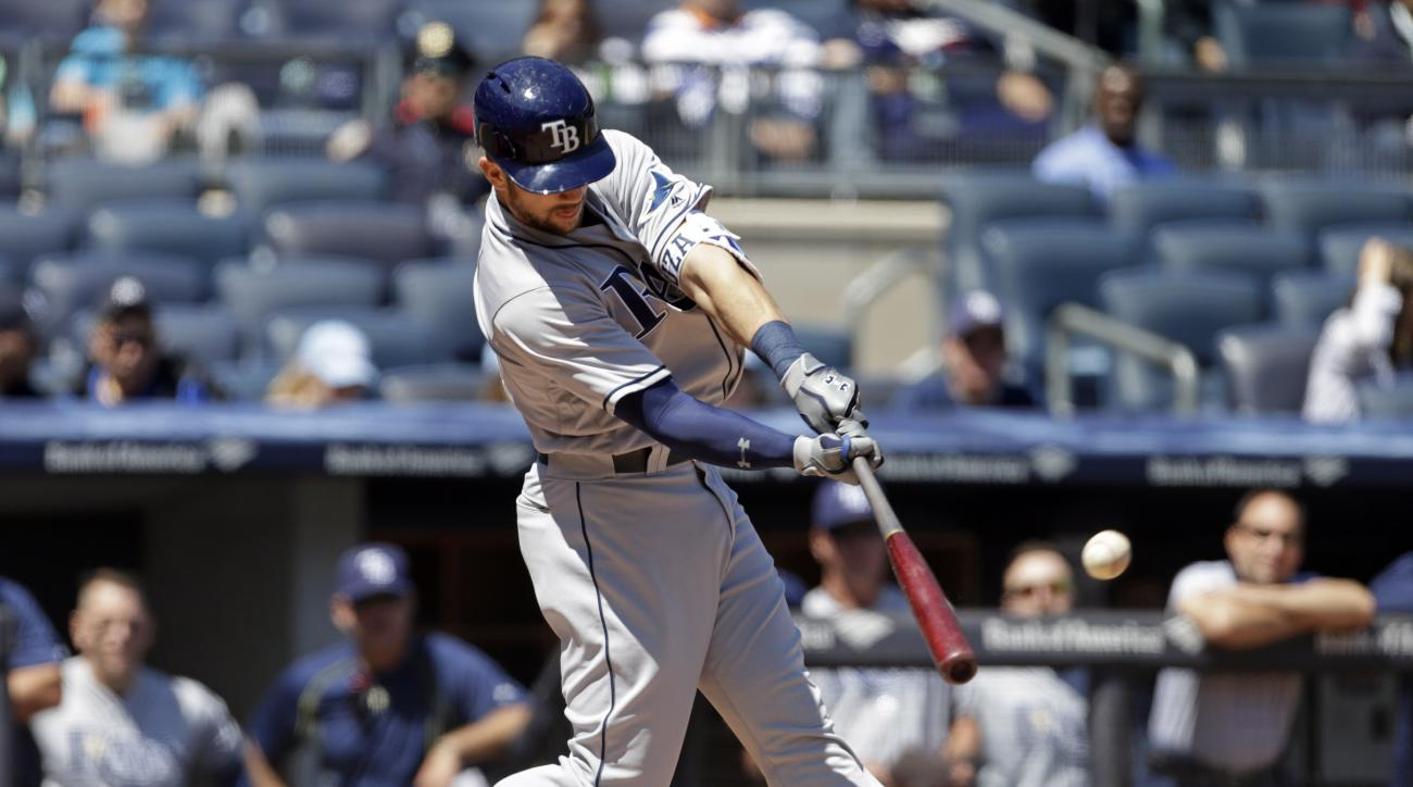 Tampa Bay Rays' Steven Souza Jr. hits a two-run home run during the first inning of a baseball game against the New York Yankees on Sunday, April 24, 2016, in New York. (AP Photo/Adam Hunger)
