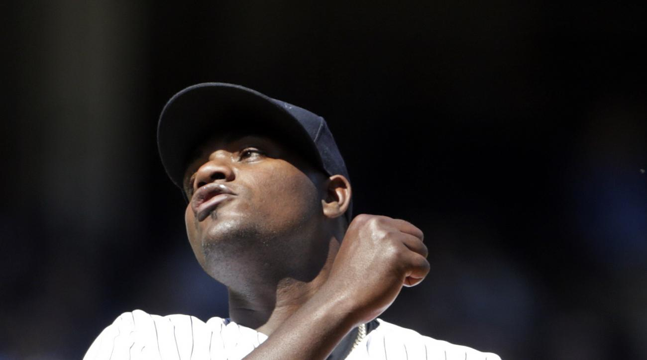 New York Yankees starting pitcher Michael Pineda reacts after giving up a solo home run during the fifth inning of a baseball game against the Tampa Bay Rays on Sunday, April 24, 2016, in New York. (AP Photo/Adam Hunger)