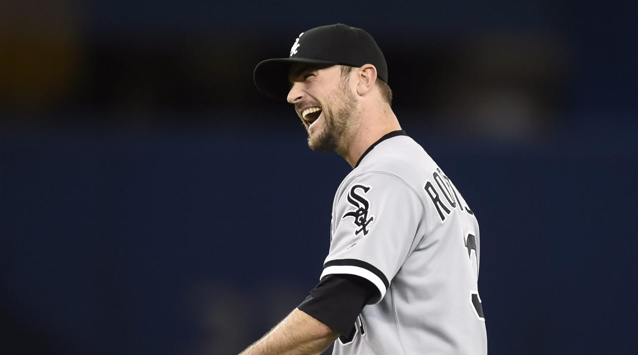Chicago White Sox closer David Robertson reacts following a win over the Toronto Blue Jays in baseball action in Toronto on Monday, April 25, 2016. Chicago won, 7-5. (Frank Gunn/The Canadian Press via AP) MANDATORY CREDIT