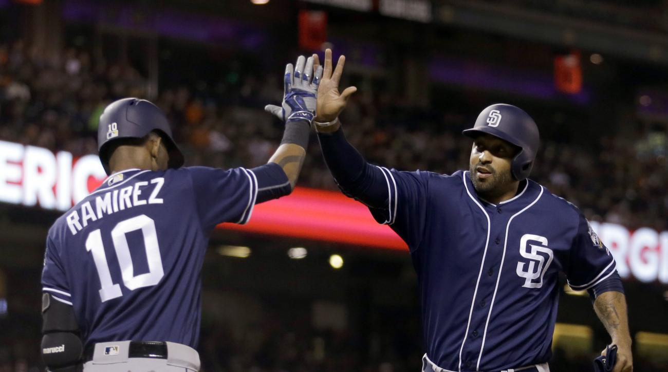 San Diego Padres' Matt Kemp, right, is congratulated by Alexei Ramirez (10) after scoring against the San Francisco Giants in the sixth inning of a baseball game Monday, April 25, 2016, in San Francisco. Kemp scored on a double by Padres' Derek Norris. (A