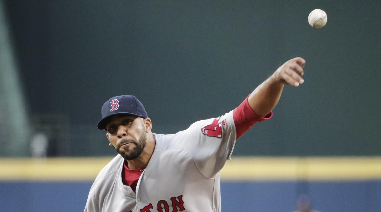 Boston Red Sox starting pitcher David Price throws in the first inning of a baseball game against the Atlanta Braves on Tuesday, April 26, 2016, in Atlanta. (AP Photo/David Goldman)