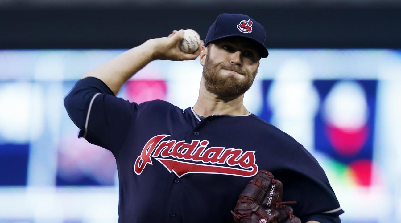 Cleveland Indians pitcher Cody Anderson throws against the Minnesota Twins during the first inning of a baseball game Tuesday, April 26, 2016, in Minneapolis. (AP Photo/Jim Mone)