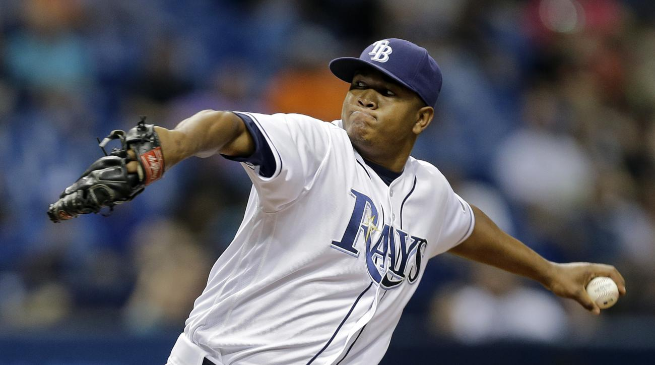 Tampa Bay Rays relief pitcher Enny Romero delivers to the Baltimore Orioles during the sixth inning of a baseball game Tuesday, April 26, 2016, in St. Petersburg, Fla. (AP Photo/Chris O'Meara)