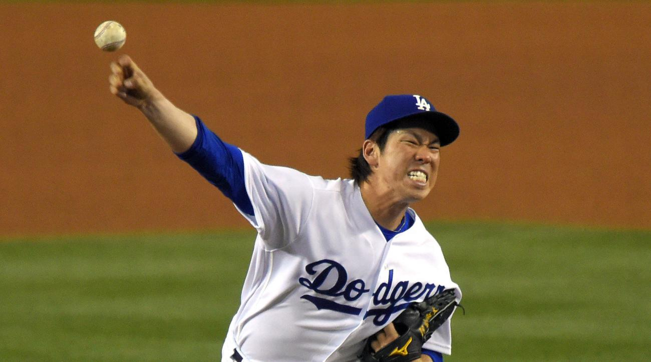 Los Angeles Dodgers starting pitcher Kenta Maeda, of Japan, throws to the plate during the fourth inning of a baseball game against the Miami Marlins, Thursday, April 28, 2016, in Los Angeles. (AP Photo/Mark J. Terrill)