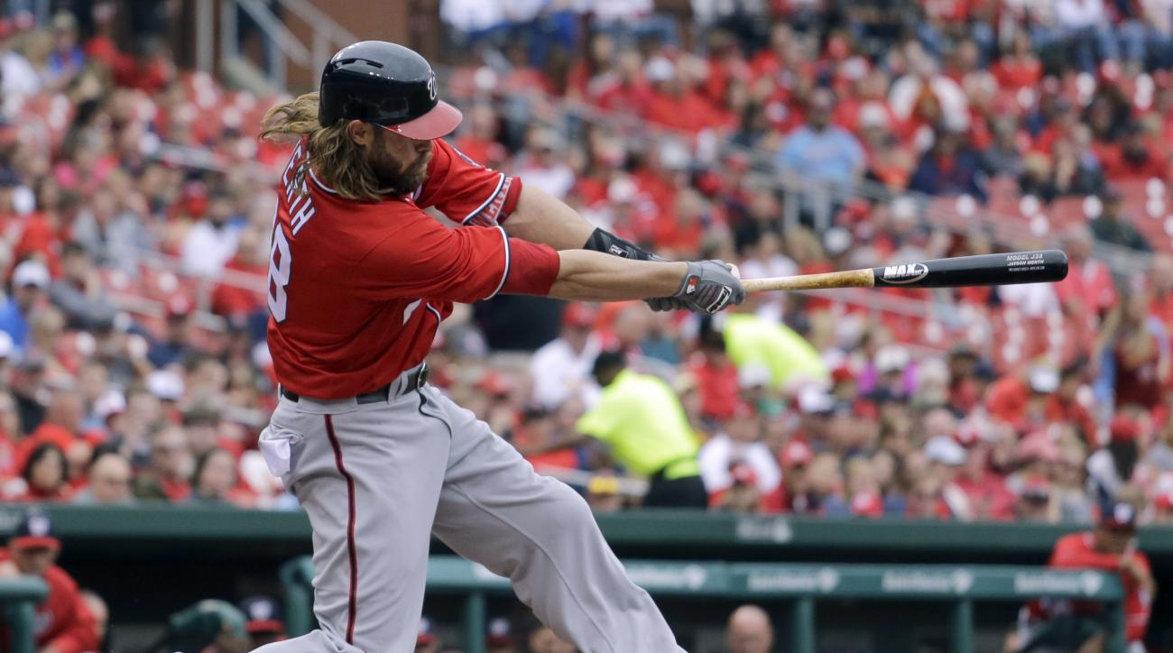 Washington Nationals' Jayson Werth follows through an a three-run home run during the first inning of a baseball game against the St. Louis Cardinals Saturday, April 30, 2016, in St. Louis. (AP Photo/Jeff Roberson)