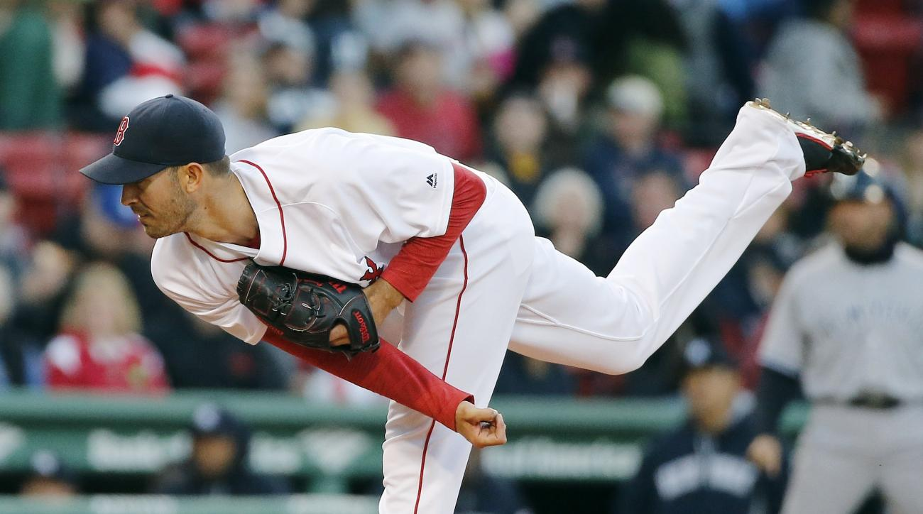 Boston Red Sox's Rick Porcello pitches during the first inning of a baseball game against the New York Yankees in Boston, Saturday, April 30, 2016. (AP Photo/Michael Dwyer)