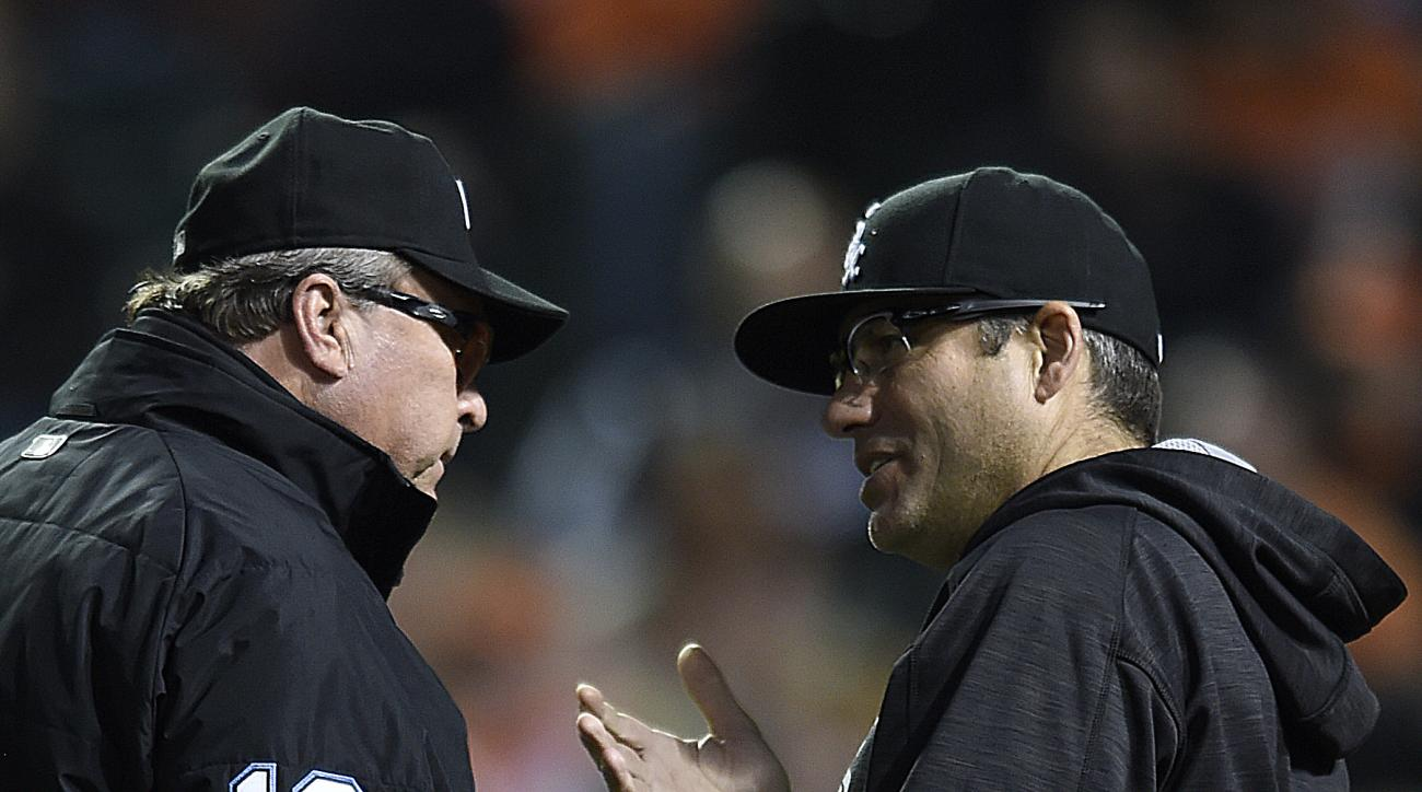 Chicago White Sox manager Robin Ventura, right, argues with first base umpire Gerry Davis before being ejected during the third inning of a baseball game against the Baltimore Orioles, Saturday, April 30, 2016, in Baltimore. (AP Photo/Gail Burton)