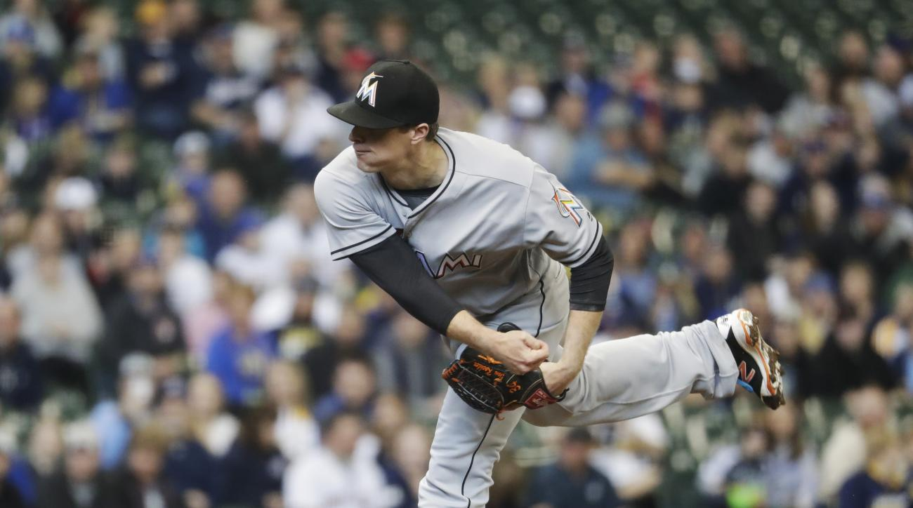 Miami Marlins starting pitcher Tom Koehler throws during the first inning of a baseball game against the Milwaukee Brewers Sunday, May 1, 2016, in Milwaukee. (AP Photo/Morry Gash)