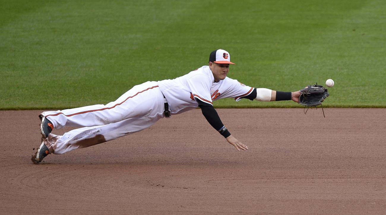 A ball hit by Chicago White Sox' Todd Frazier gets by Baltimore Orioles third baseman Manny Machado during the fourth inning of a baseball game, Sunday, May 1, 2016, in Baltimore. Baltimore Orioles shortstop J.J. Hardy, not seen, was able to get the ball
