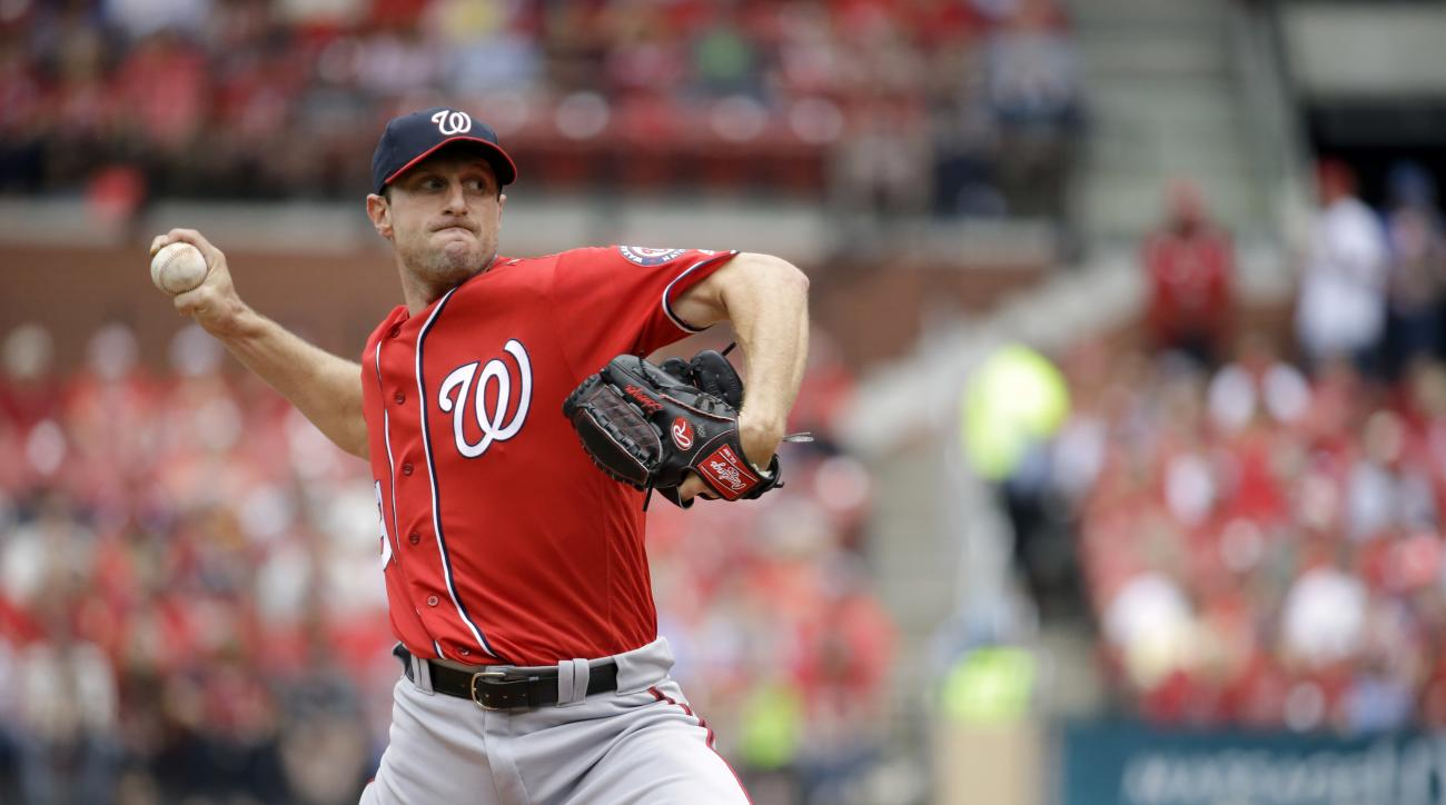 Washington Nationals starting pitcher Max Scherzer throws during the first inning of a baseball game against the St. Louis Cardinals, Sunday, May 1, 2016, in St. Louis. (AP Photo/Jeff Roberson)