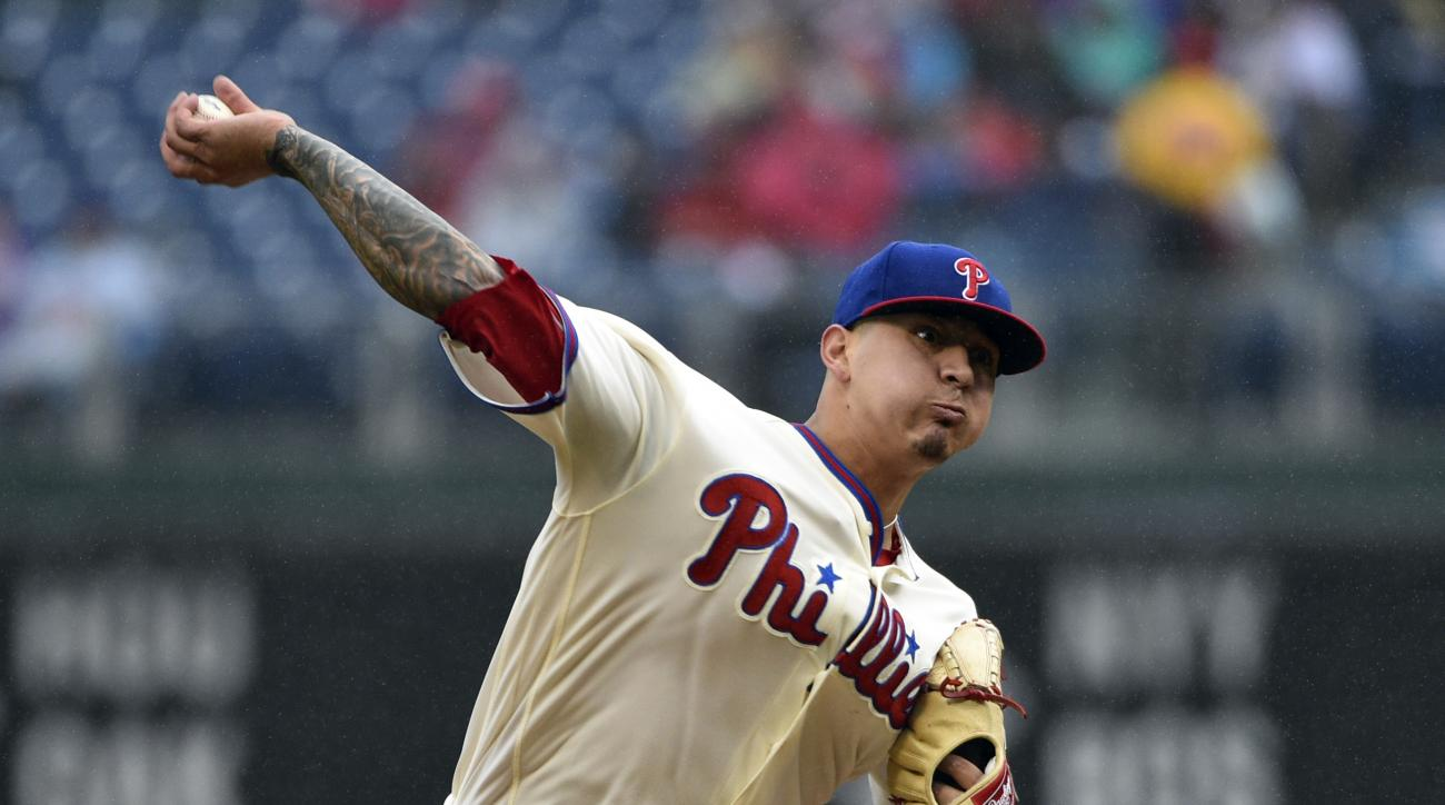 Philadelphia Phillies starting pitcher Vince Velasquez throws during the fourth inning of a baseball game, Sunday, May 1, 2016, in Philadelphia. (AP Photo/Derik Hamilton)