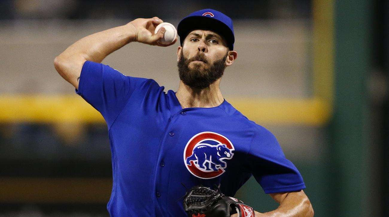 Chicago Cubs starting pitcher Jake Arrieta delivers during the fifth inning of a baseball game against the Pittsburgh Pirates in Pittsburgh, Tuesday, May 3, 2016. (AP Photo/Gene J. Puskar)