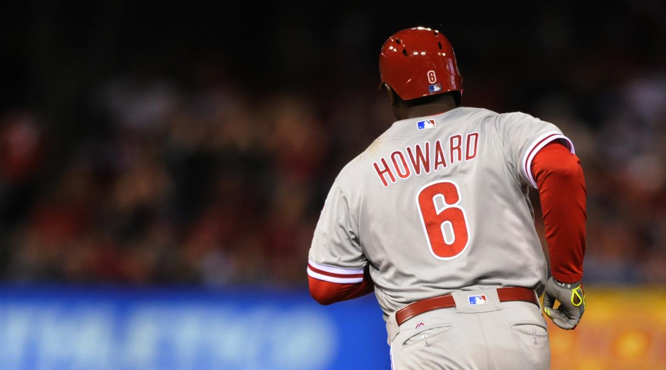 Philadelphia Phillies' Ryan Howard (6) rounds the base with a solo home run against the St. Louis Cardinals in the sixth inning of a baseball game, Tuesday, May 3, 2016, at Busch Stadium in St. Louis. (AP Photo/Bill Boyce)