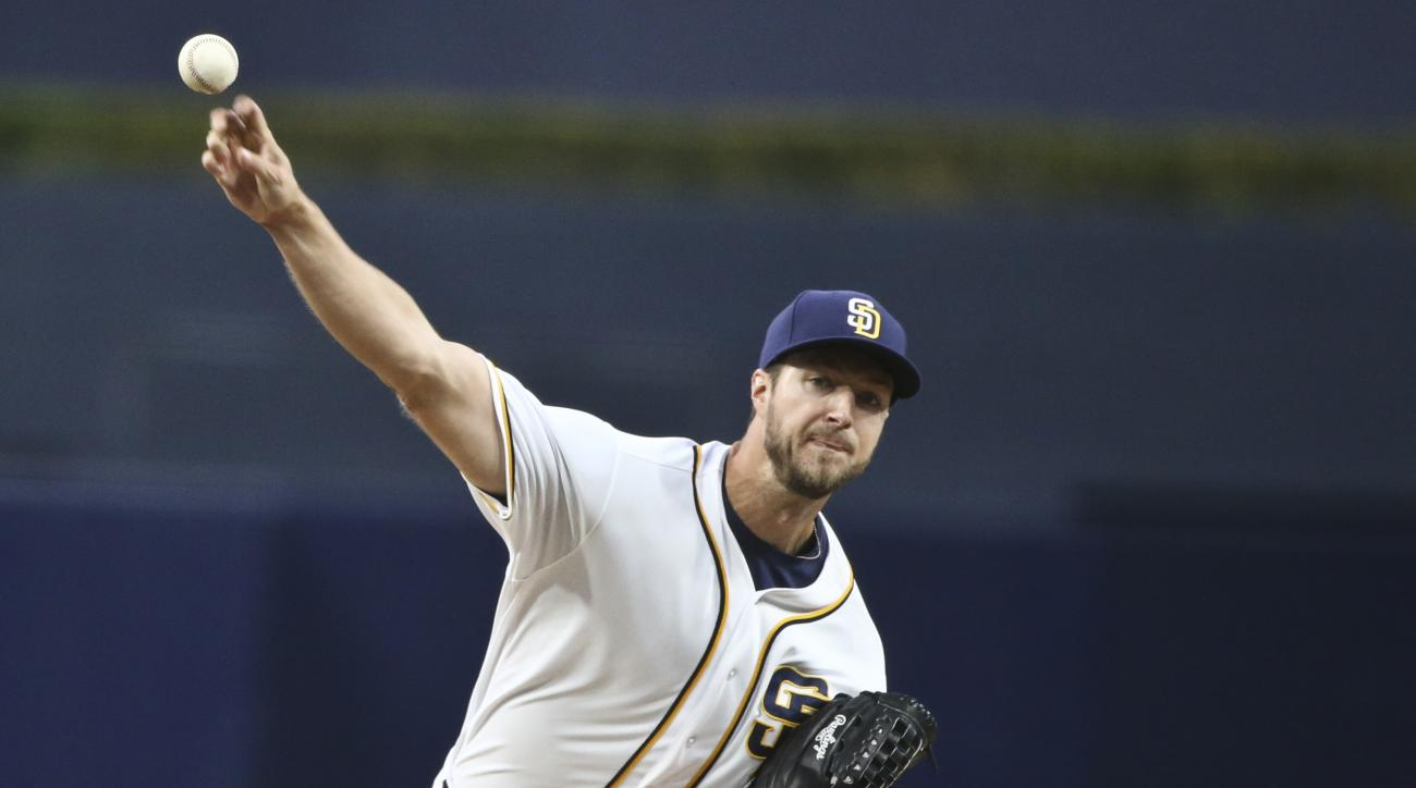 San Diego Padres starter Colin Rea works against the New York Mets in the first inning of a baseball game Thursday, May 5, 2016, in San Diego. (AP Photo/Lenny Ignelzi)