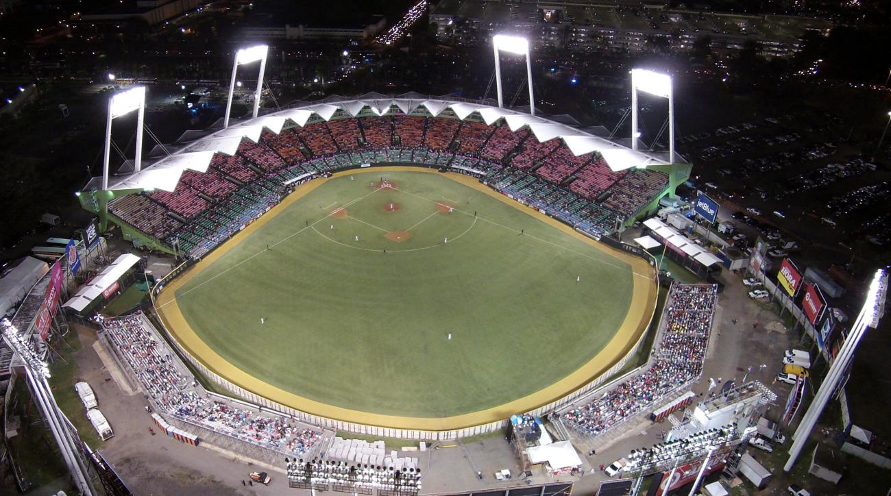 FILE - This Feb. 6, 2015, file photo, shows Hiram Bithorn Stadium as Puerto Rico plays the Dominican Republic at the Caribbean Series baseball tournament in San Juan, Puerto Rico. Baseball has scrapped a series in Puerto Rico between the Pirates and Marli