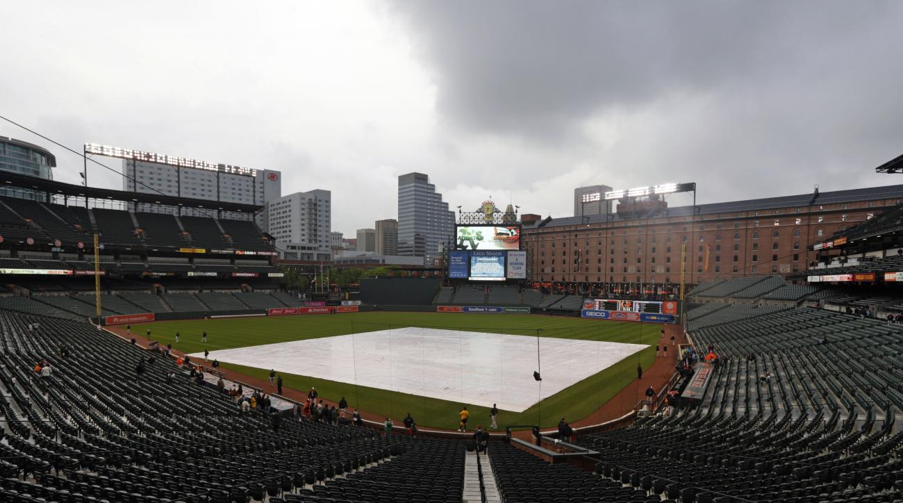 Storm clouds roll over Oriole Park at Camden Yards before a baseball game between the Oakland Athletics and the Baltimore Orioles in Baltimore, Friday, May 6, 2016. The game was postponed due to inclement weather and rescheduled for Saturday. (AP Photo/Pa