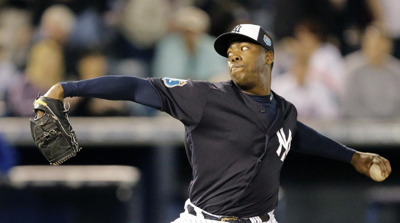 New York Yankees relief pitcher Aroldis Chapman during the fifth inning of a spring training baseball game against the New York Mets Tuesday, March 22, 2016, in Tampa, Fla. (AP Photo/Chris O'Meara)