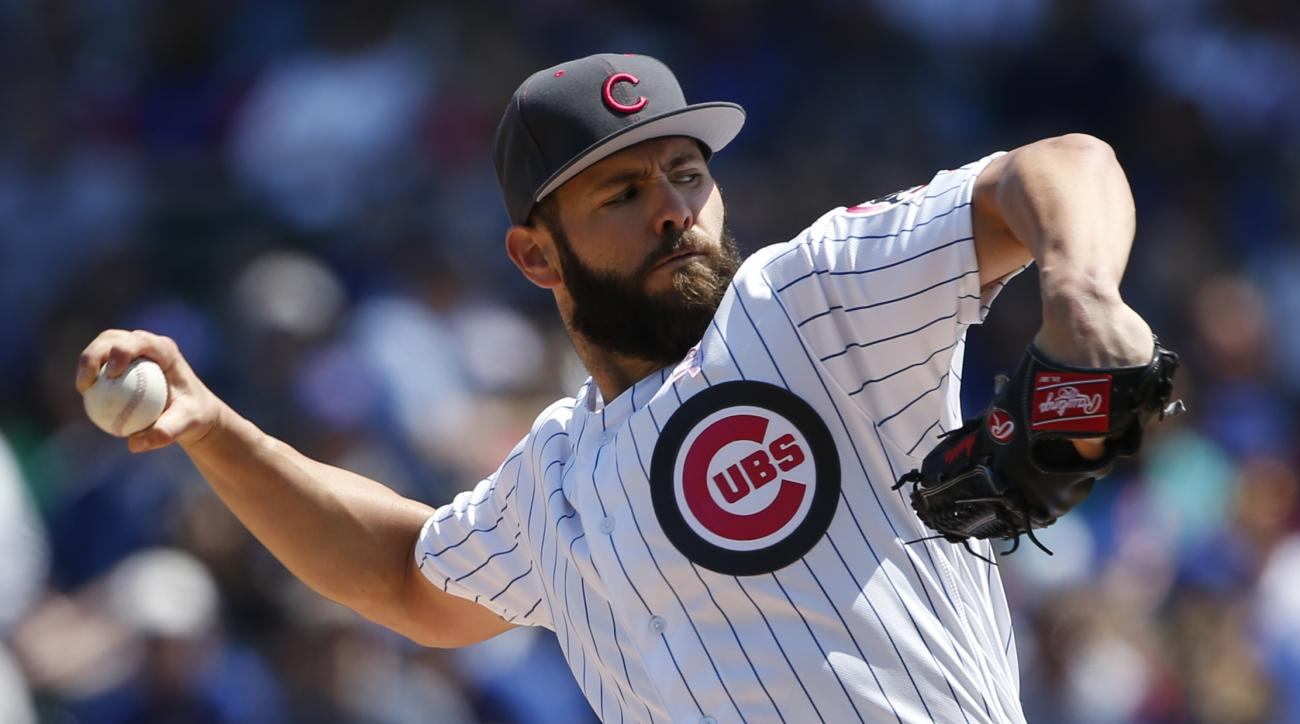 Chicago Cubs starter Jake Arrieta throws against the Washington Nationals during the first inning of a baseball game Sunday, May 8, 2016, in Chicago. (AP Photo/Nam Y. Huh)