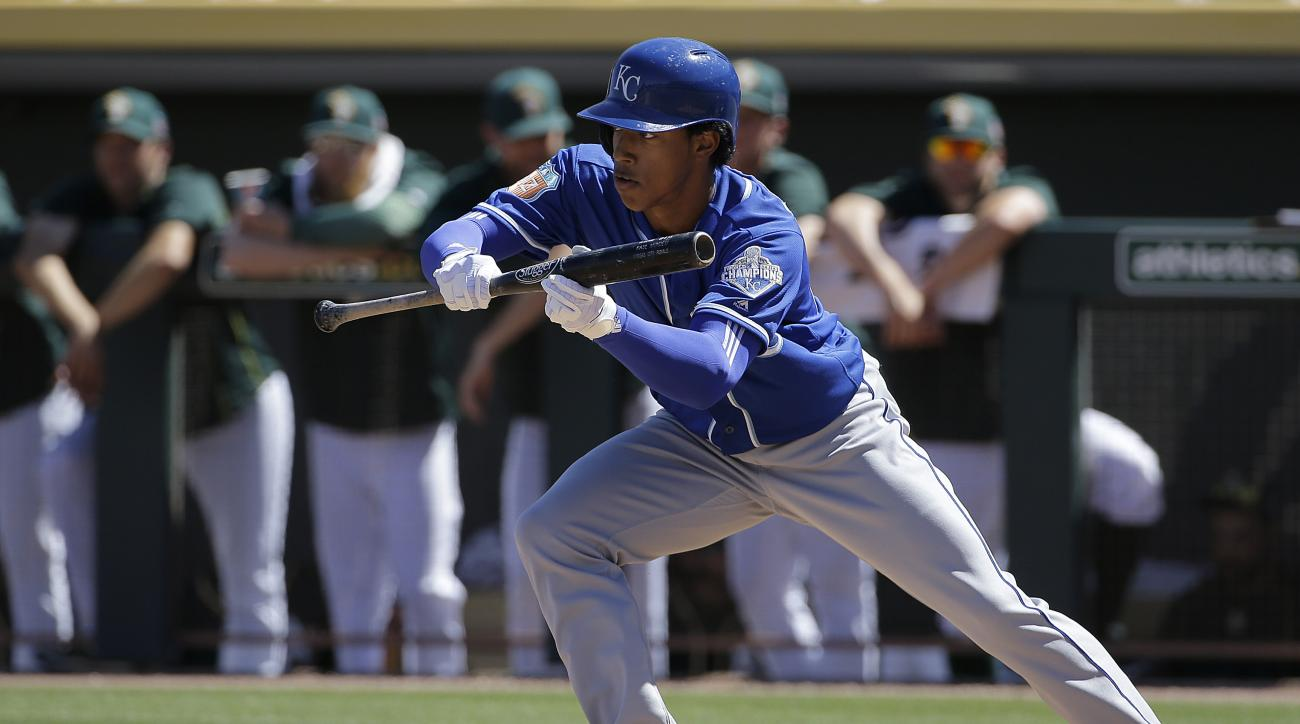 Kansas City Royals' Raul Mondesi against the Oakland Athletics during a spring training baseball game in Mesa, Ariz., Sunday, March 27, 2016. (AP Photo/Jeff Chiu)
