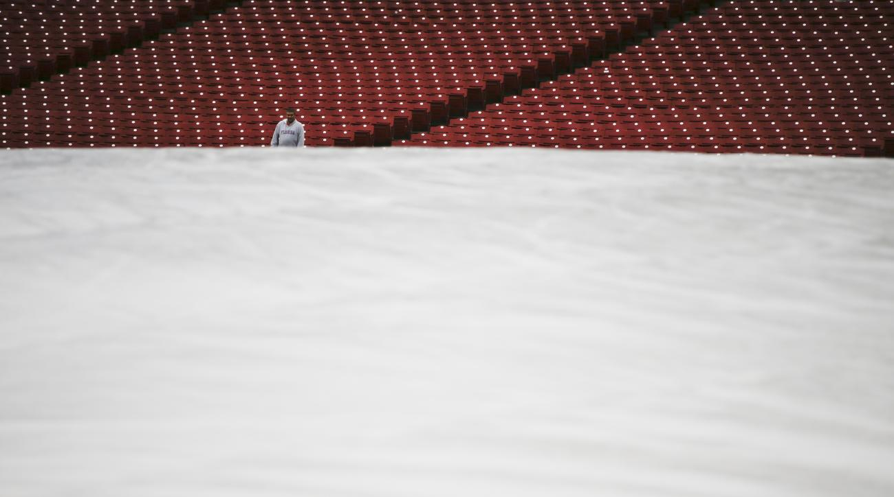 A tarp covers the field as a fan waits in the stands during a rain delay before a baseball game between the Cincinnati Reds and the Pittsburgh Pirates was postponed due to rain, Tuesday, May 10, 2016, in Cincinnati. (AP Photo/John Minchillo)