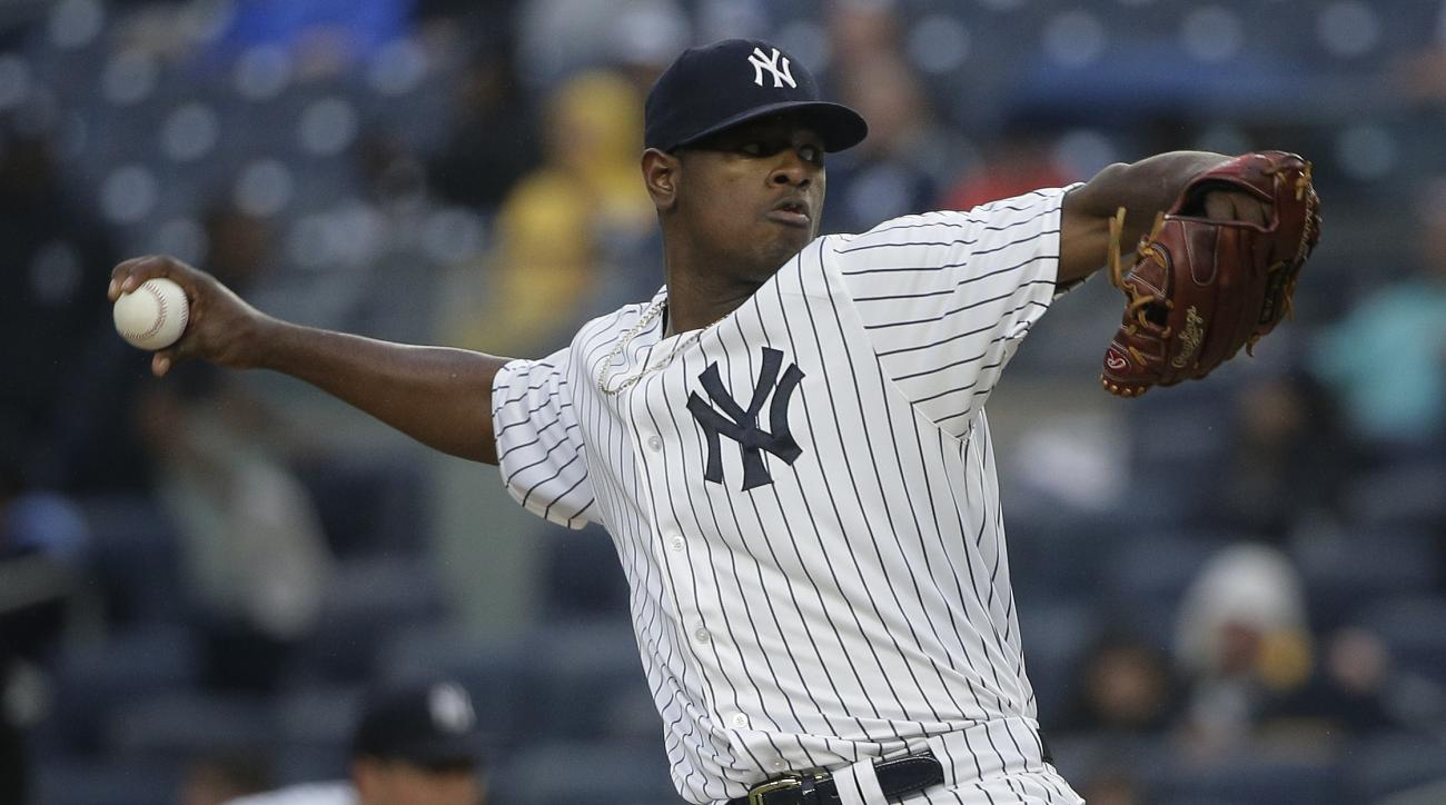 New York Yankees pitcher Luis Severino delivers against the Chicago White Sox during the first inning of a baseball game, Friday, May 13, 2016, in, New York. (AP Photo/Julie Jacobson)