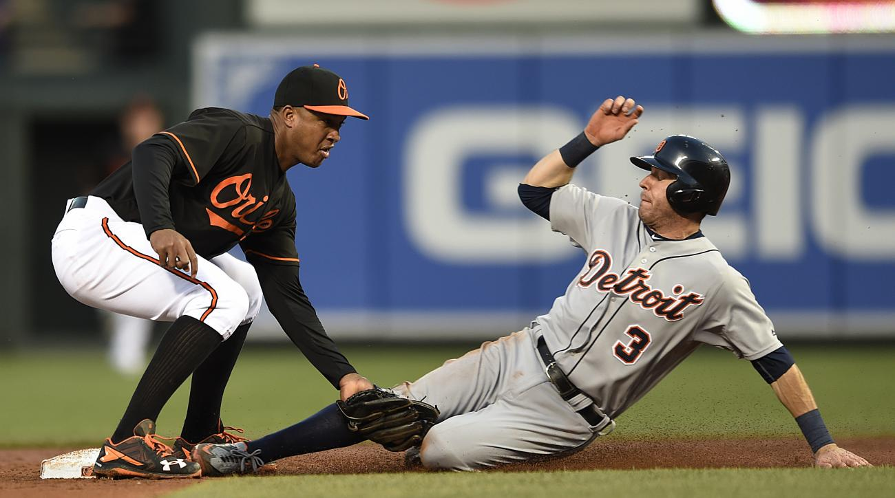Baltimore Orioles second baseman Jonathan Schoop tags out Detroit Tigers' Ian Kinsler on a steal attempt in the third inning of a baseball game, Friday, May 13, 2016, in Baltimore. (AP Photo/Gail Burton)