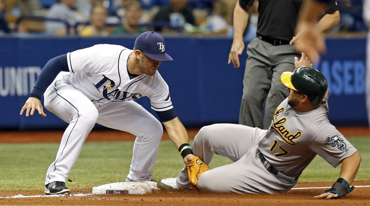 Oakland Athletics' Yonder Alonso (17) slides in safely with a steal of third base ahead of a tag by Tampa Bay Rays' Evan Longoria during the sixth inning of a baseball game Friday, May 13, 2016, in St. Petersburg, Fla. (AP Photo/Mike Carlson)