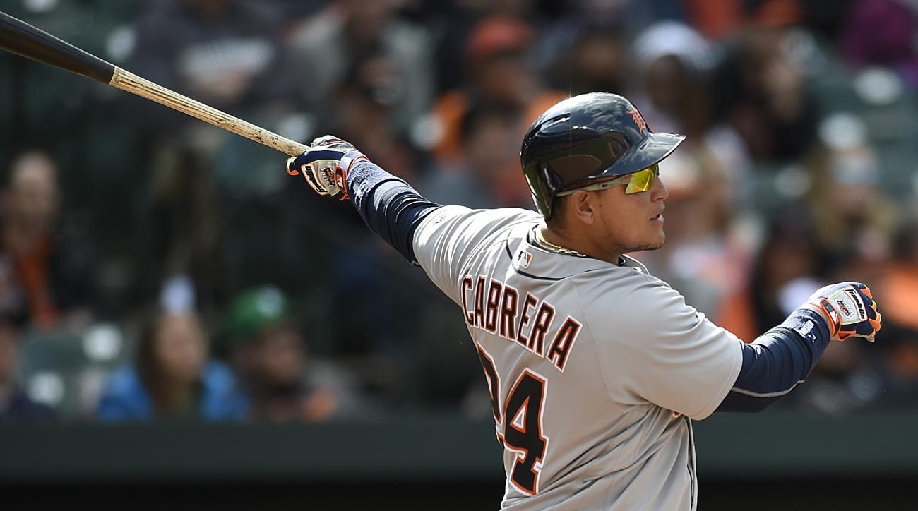Detroit Tigers' Miguel Cabrera follows through on a solo home run against the Baltimore Orioles in the eighth inning of a baseball game, Sunday, May 15, 2016, in Baltimore. The Tigers won 6-5. (AP Photo/Gail Burton)