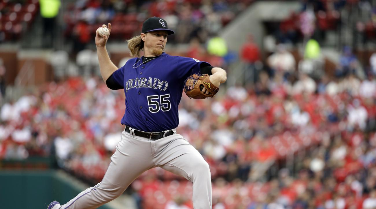 Colorado Rockies starting pitcher Jon Gray throws during the first inning of a baseball game against the St. Louis Cardinals on Thursday, May 19, 2016, in St. Louis. (AP Photo/Jeff Roberson)