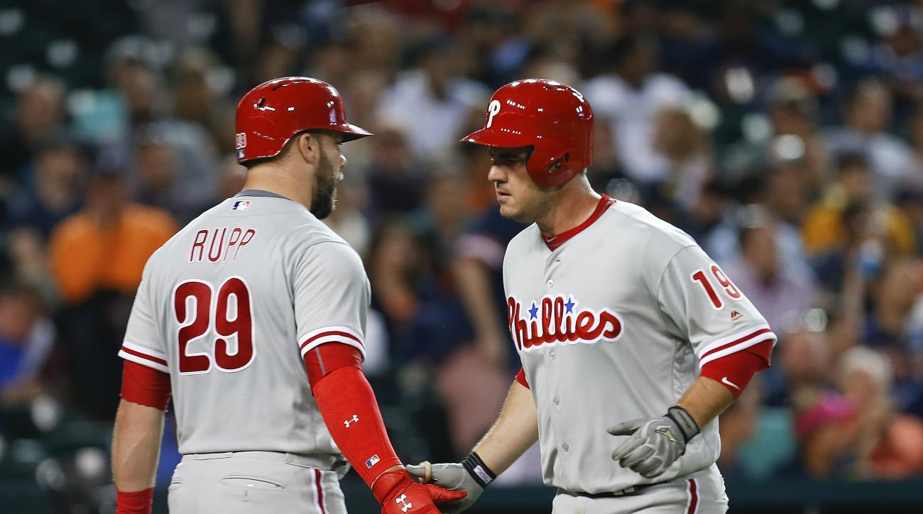 Philadelphia Phillies' Tommy Joseph, right, celebrates his solo home run with Cameron Rupp (29) against the Detroit Tigers in the sixth inning of a baseball game Monday, May 23, 2016 in Detroit. (AP Photo/Paul Sancya)