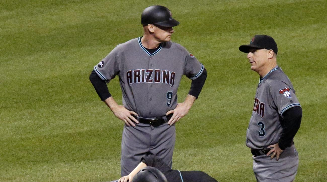 Arizona Diamondbacks' Nick Ahmed , bottom left, is checked by a team trainer as third base coach Matt Williams, (9) and manager Chip Hale (3) look on after being hit by a pitch from Pittsburgh Pirates relief pitcher Arquimedes Caminero in the eighth innin