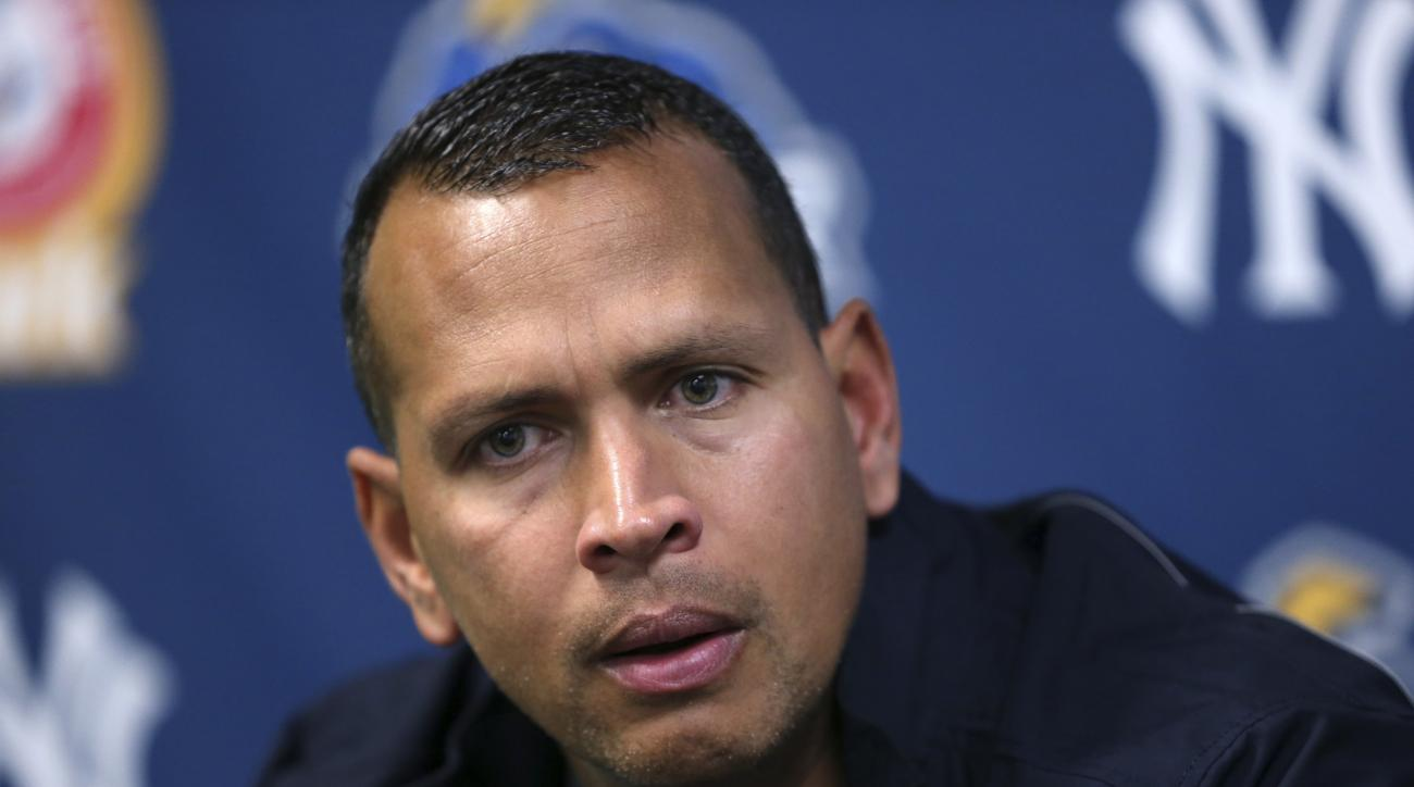New York Yankees third baseman Alex Rodriguez listens to a question after a minor league rehab start for the Trenton Thunder against the New Hampshire Fisher Cats on Wednesday, May 25, 2016, in Trenton, N.J. (AP Photo/Mel Evans)