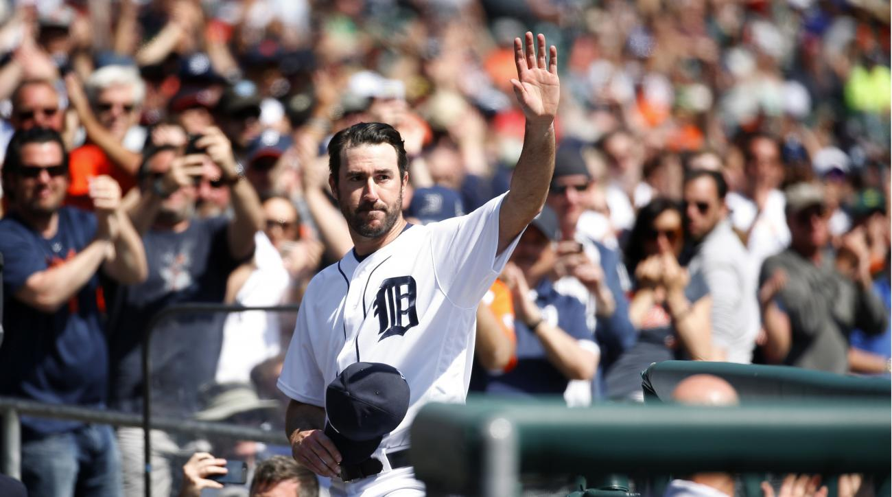 FILE - In this May 18, 2016, file photo, Detroit Tigers pitcher Justin Verlander acknowledges the crowd after being relieved against the Minnesota Twins in the eighth inning of a baseball game in Detroit. Verlander tweeted early in the month that he was o