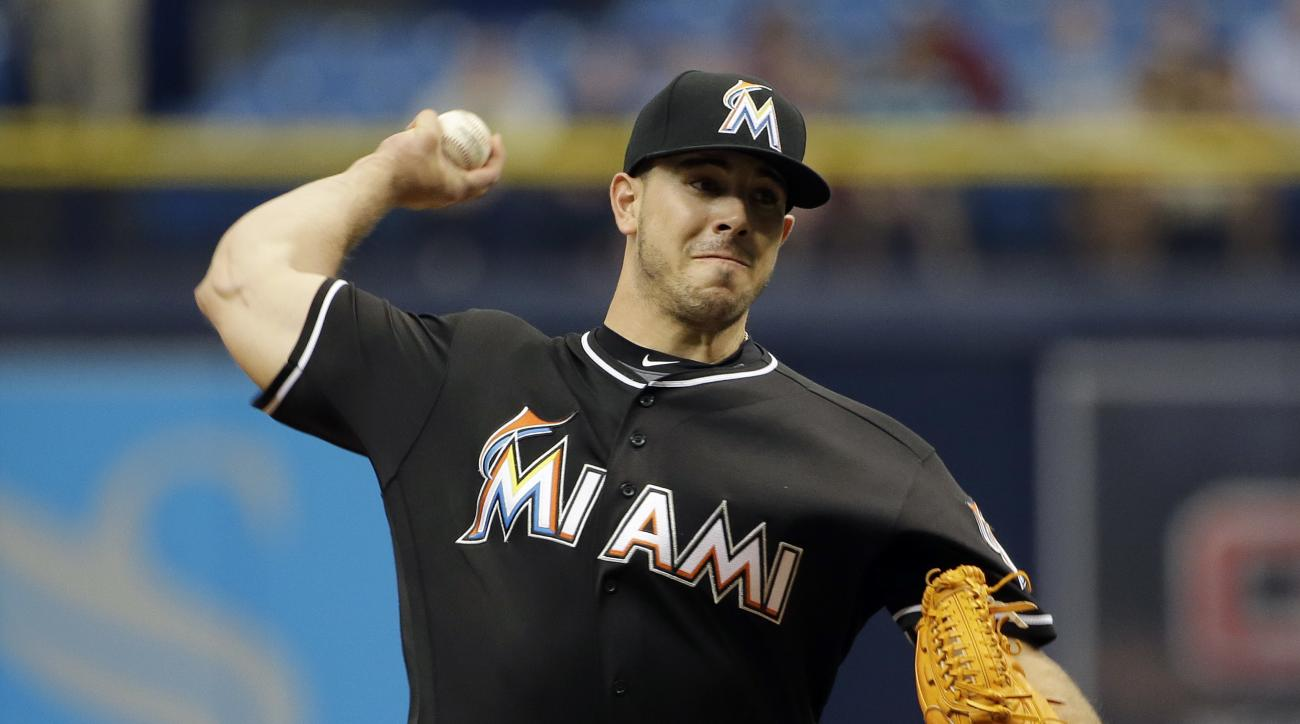 Miami Marlins starting pitcher Jose Fernandez delivers to the Tampa Bay Rays during the first inning of an interleague baseball game Thursday, May 26, 2016, in St. Petersburg, Fla. (AP Photo/Chris O'Meara)