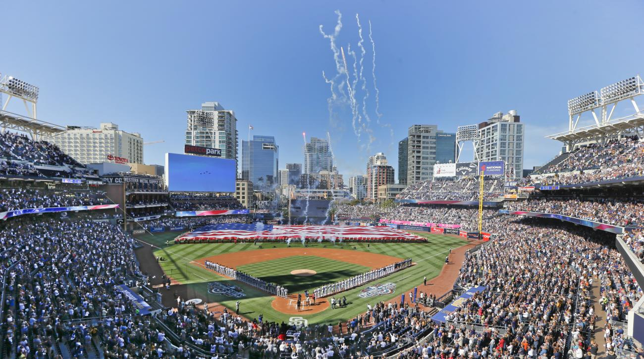 Opening day ceremonies are performed at Petco Park before a baseball game between the Los Angeles Dodgers and the San Diego Padres, Monday, April 4, 2016, in San Diego. (AP Photo/Lenny Ignelzi)
