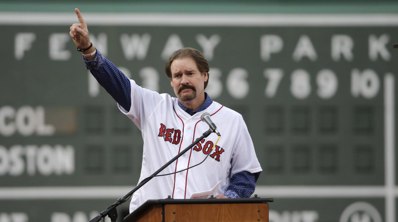 Former Boston Red Sox player Wade Boggs speaks during the retirement of his jersey No. 26 during a ceremony at Fenway Park, Thursday, May 26, 2016, in Boston, before a game between the Red Sox and the Colorado Rockies. (AP Photo/Elise Amendola)