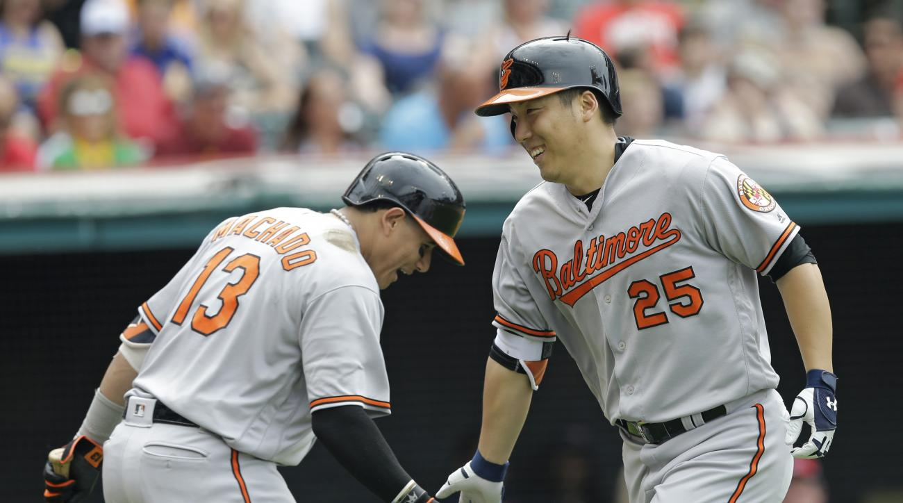 Baltimore Orioles' Hyun Soo Kim (25) is congratulated by Manny Machado (13) after hitting a solo home run off Cleveland Indians relief pitcher Jeff Manship in the seventh inning of a baseball game, Sunday, May 29, 2016, in Cleveland. (AP Photo/Tony Dejak)